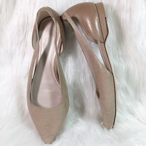 Cole Haan Pointed Toe Flats Size 8 B Two Toned Tan